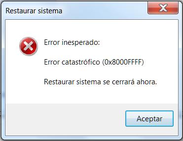 mensaje del error 0x8000ffff