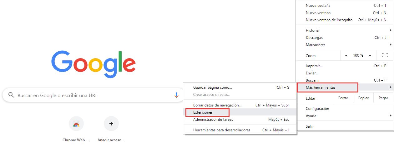 extenciones de google