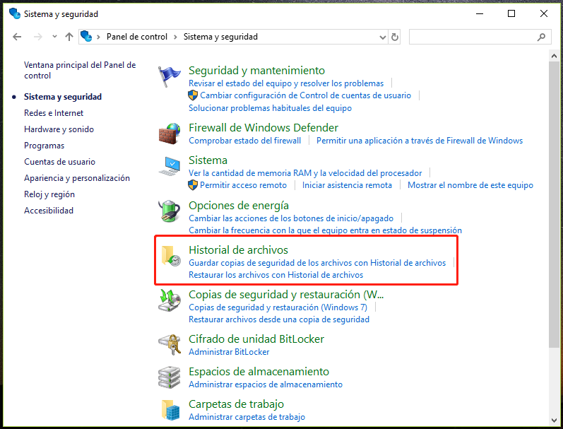 eliminar copias de seguridad windows 10