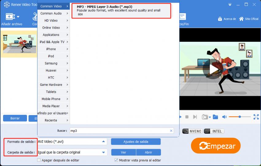 convertir MP4 a MP3 con renee video editor pro