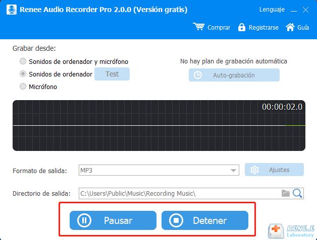 detener grabación en renee Audio Recorder Pro