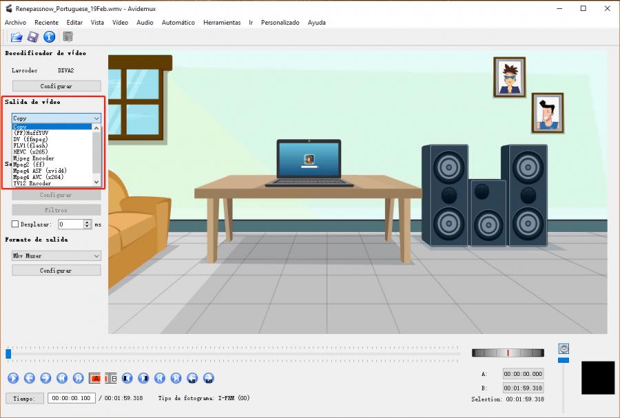 cómo girar un video con Avidemux