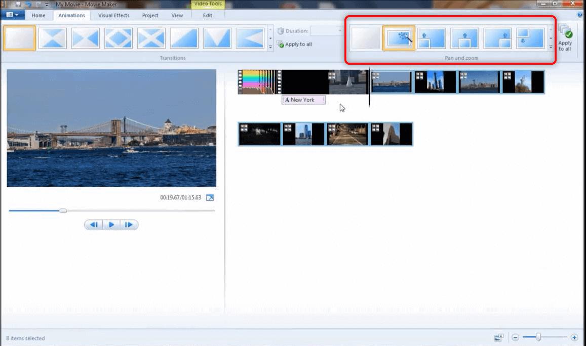 zoom video con Windows Movie Maker