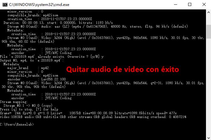 quitar audio del video con éxito