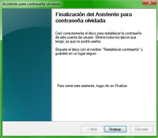 Crear disco de restablecimiento de contraseña en Windows 10