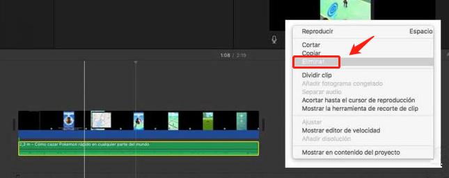 quitar audio a un video con iMovie