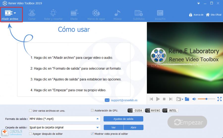 añadir archivo en renee video editor pro