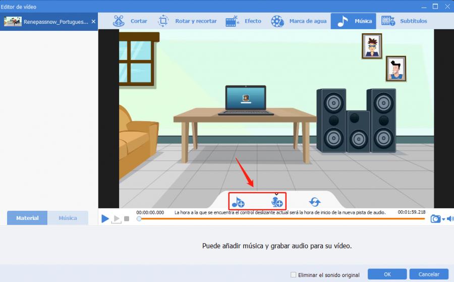 agregar audio al video con renee video editor pro