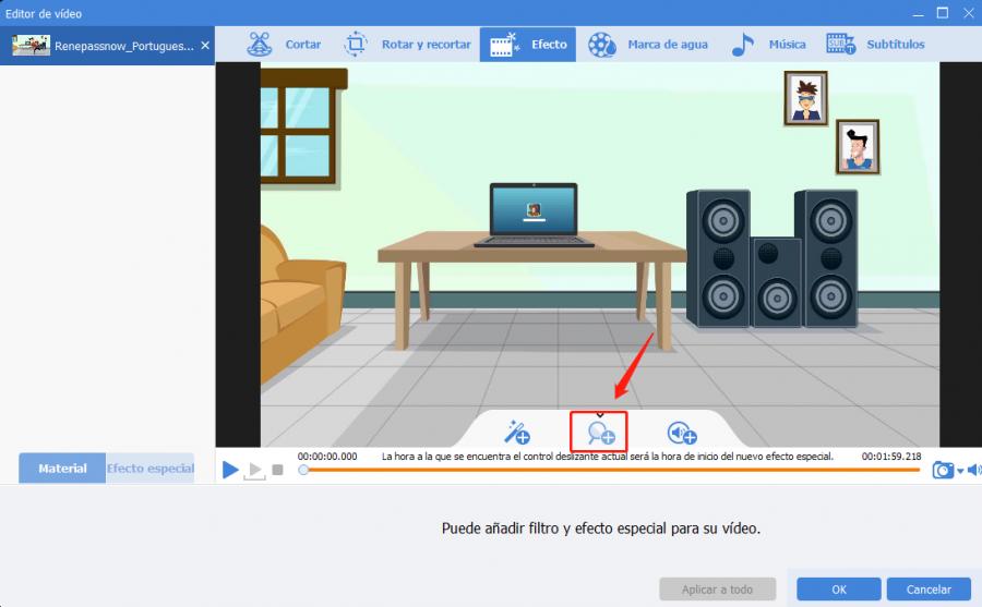 ampliar video con renee video editor pro