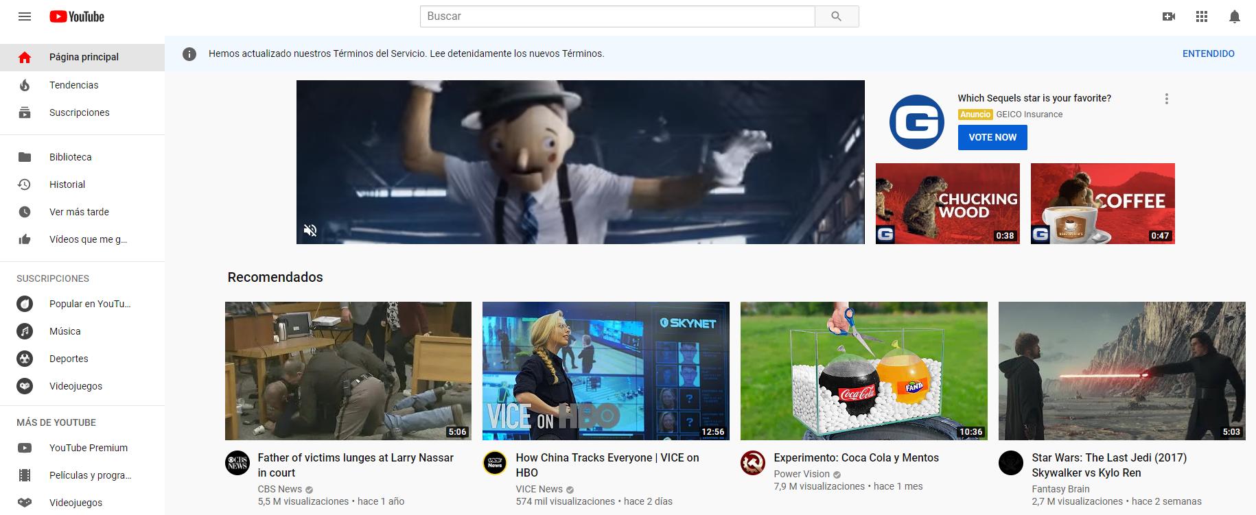 la interfaz de youtube
