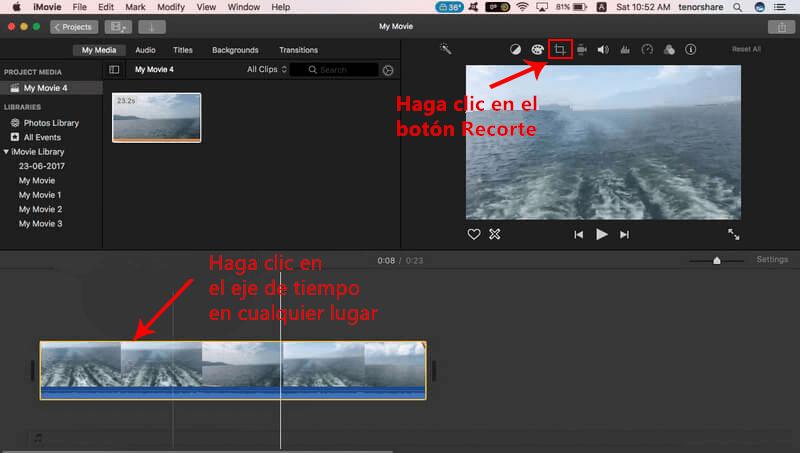 zoom video con iMovie
