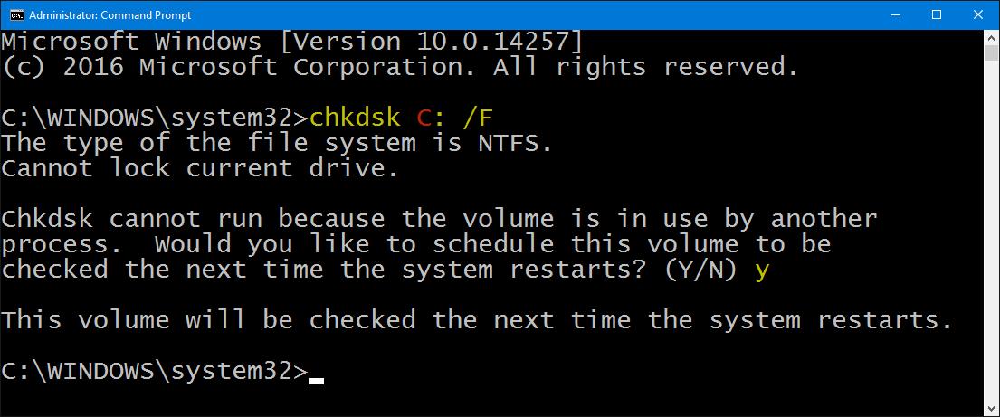 Método 2:Escanear y reparar el error con el comando CHKDSK