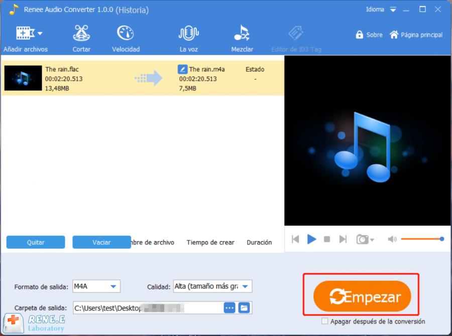 convertir flac a m4a con renee audio tools