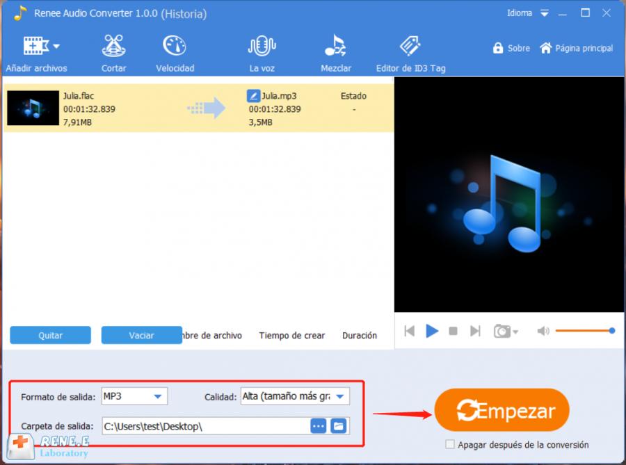 convertir flac a mp3 con renee audio tools