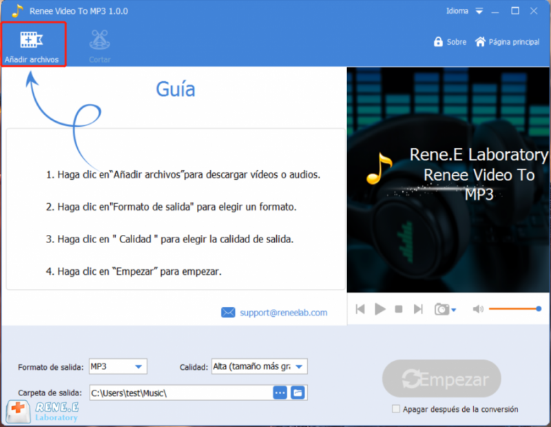 Convertir video a audio con Renee Audio Tools