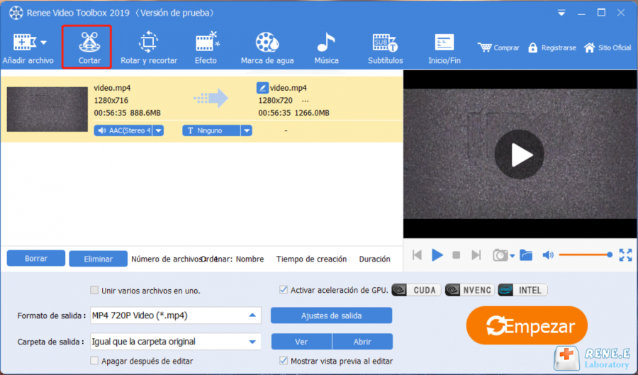 cortar mp4 con renee video editor pro