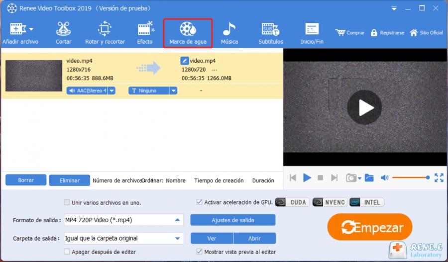 añadir o eliminar marca de agua con renee video editor pro