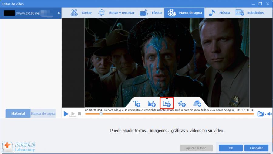 añadir marca de agua video con renee video editor pro