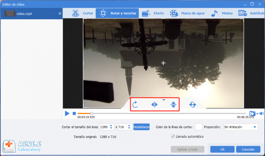 rotar videos con renee video editor pro