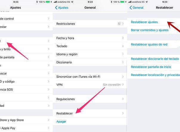 restablecer ajustes iphone