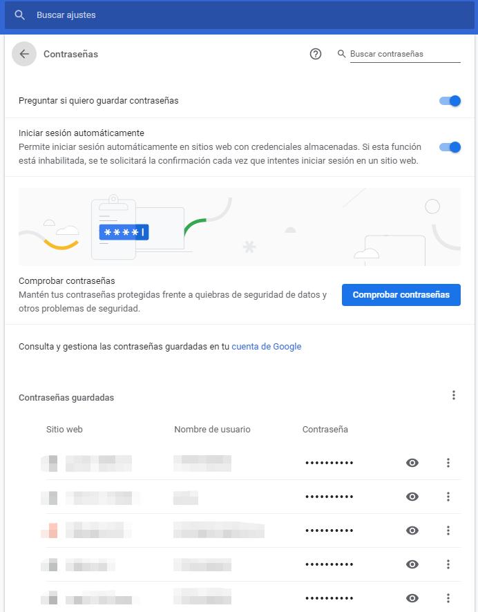 gestionar contraseñas google